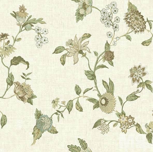 Fleur Beige with Green Flower Wallpaper - 15499