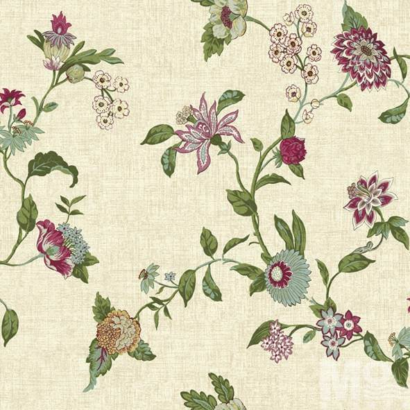 Fleur Beige With Pink Flower Wallpaper - 15517