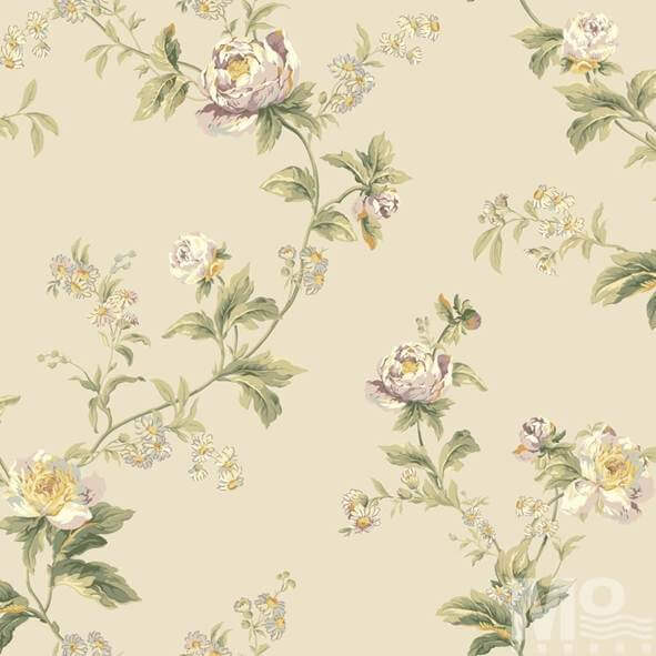 Flor Hermosa Beige Flower Wallpaper - 15675