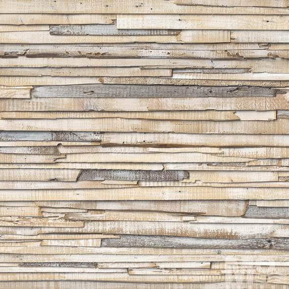Whitewashed Wood Beige Wallposter - 19490