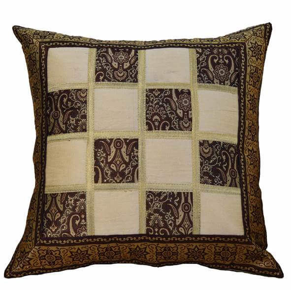 Brocade Brown Cushion Cover