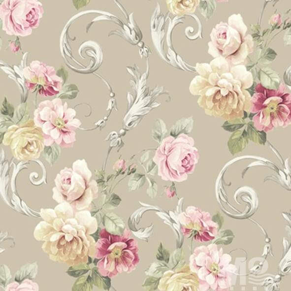 Rose Vine Beige Wallpaper - 84033