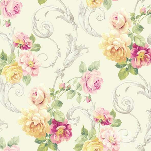 Rose Vine Cream Wallpaper - 84035