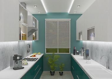 parallel shape modular kitchen design